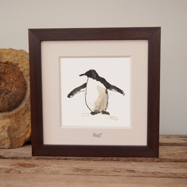 Ink painting of a penguin.