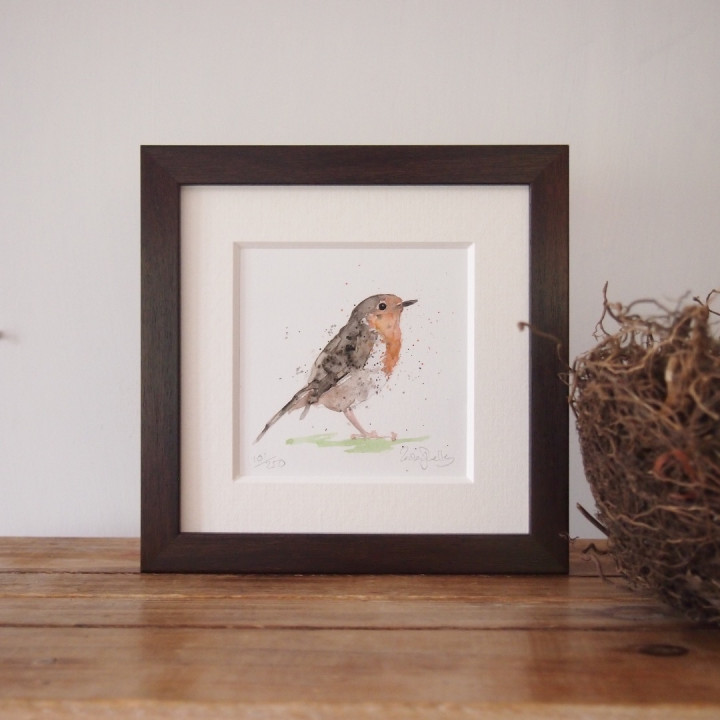 Ink and watercolour painting of a garden bird.